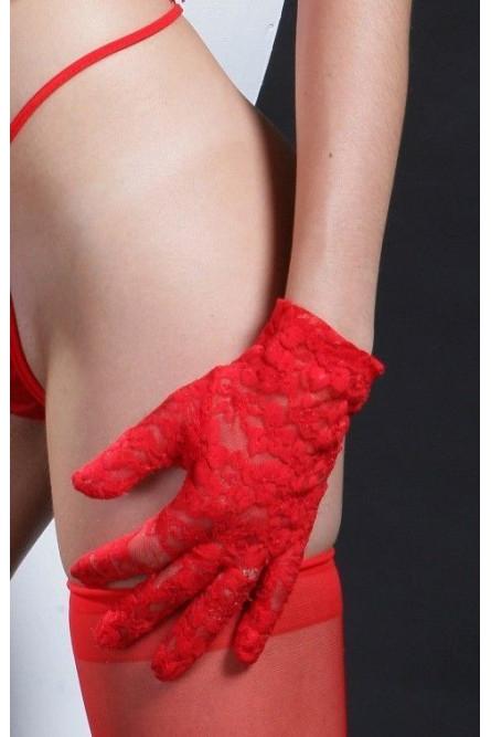 Перчатки красные короткие