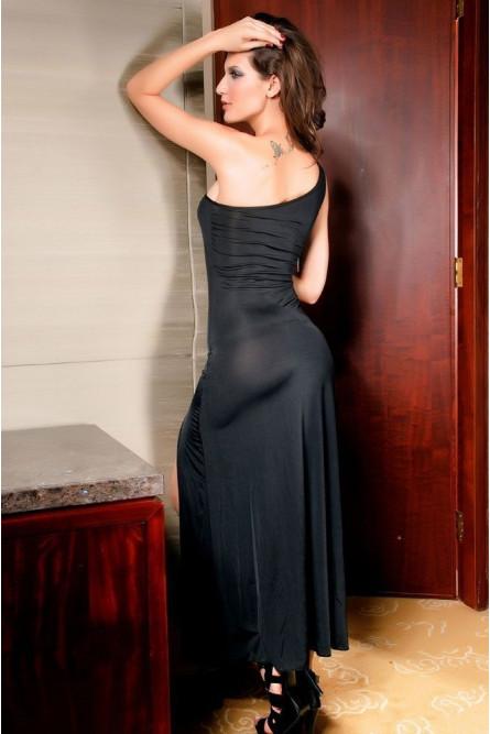 Платье черное полуоткрытое