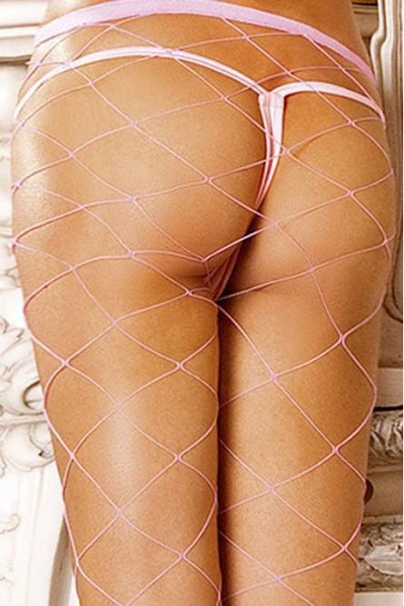 Колготки светло-розовые в крупную сетку