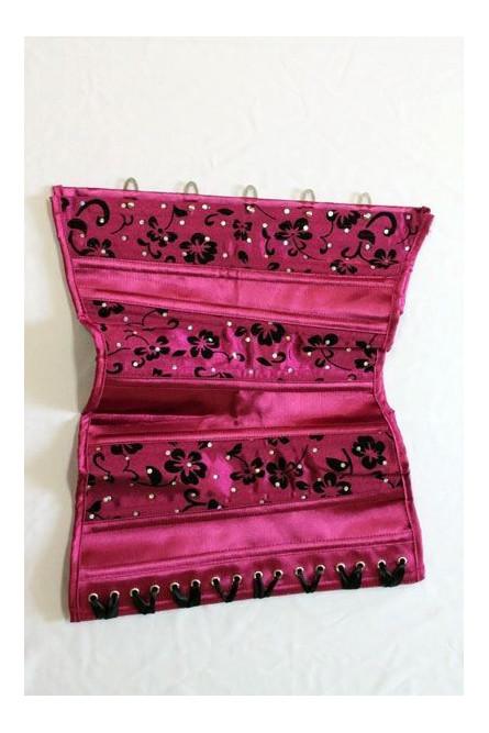 Корсет на талию розовый с черными цветами