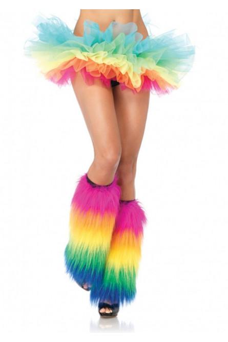 Пушистые разноцветные гетры