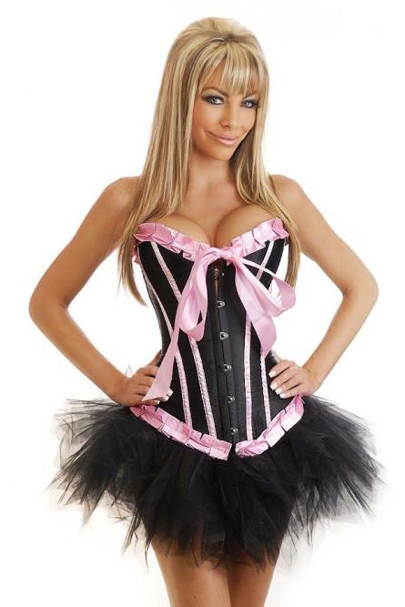 Корсет черно-розовый с юбкой