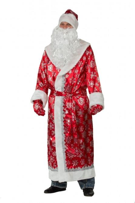Сатиновый красный костюм Деда Мороза