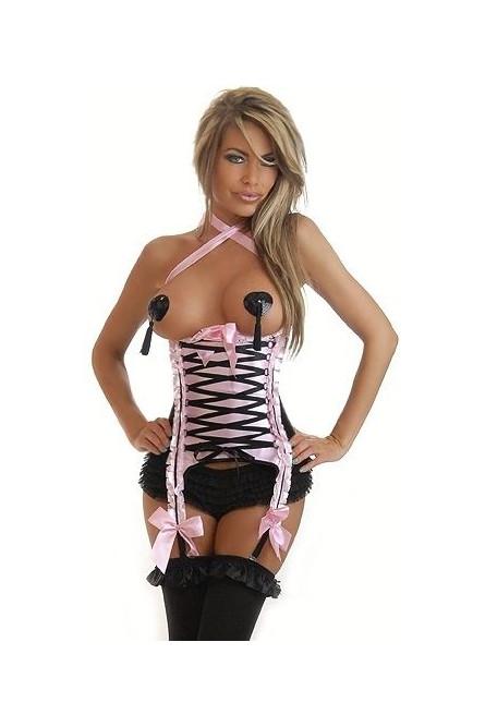 Корсет розовый под грудь со шнуровкой