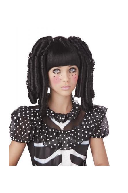 Черный парик с локонами и челкой