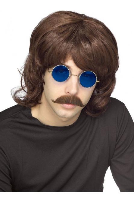 Коричневый мужской парик 70-х