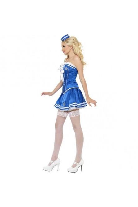 Синий корсетный костюм морячки