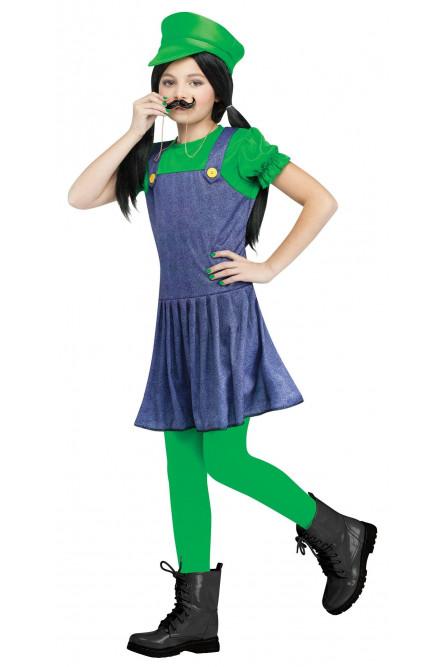 Костюм для девочек Луиджи зеленый