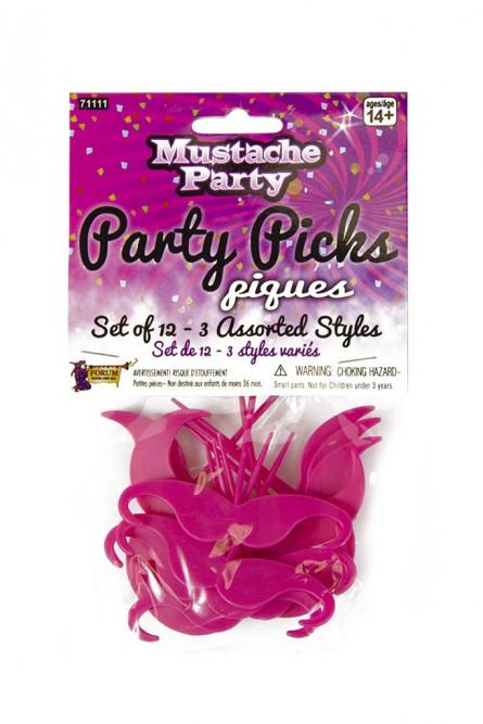 Набор розовых пластиковых усов 12 шт