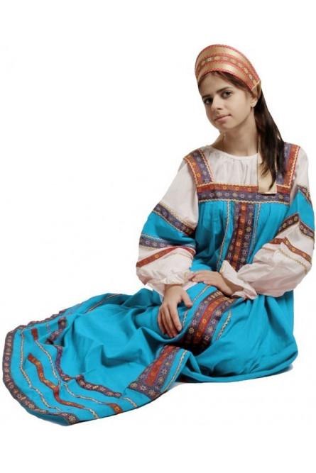 Русский костюм Забава бирюзовый