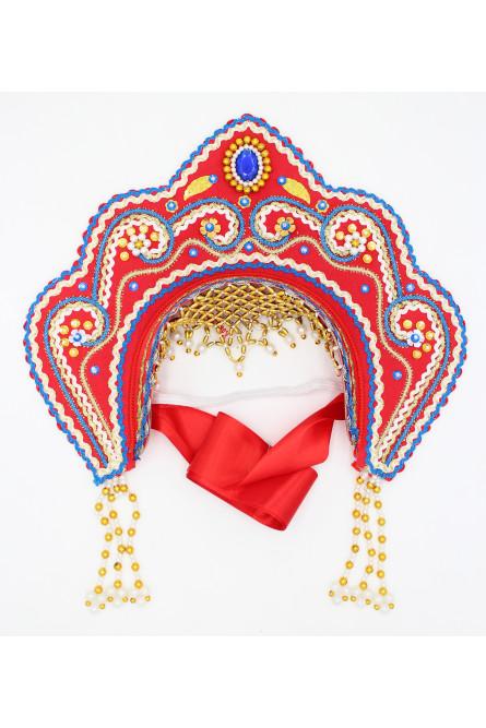 Кокошник Фантазия красный в золоте с синим