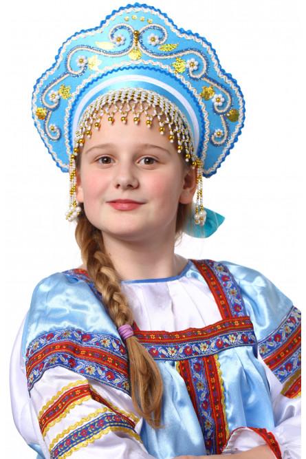 Детский бирюзовый кокошник Купола