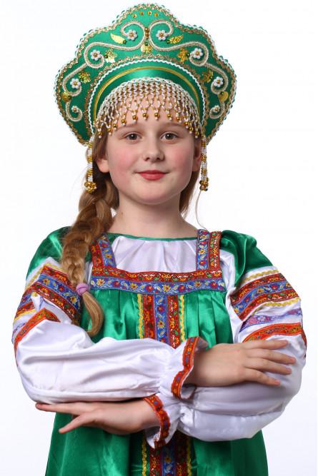 Детский зеленый кокошник Купола