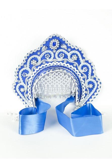 Детский синий кокошник Фантазия