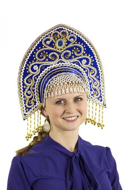 Синий кокошник Ярославна с золотом