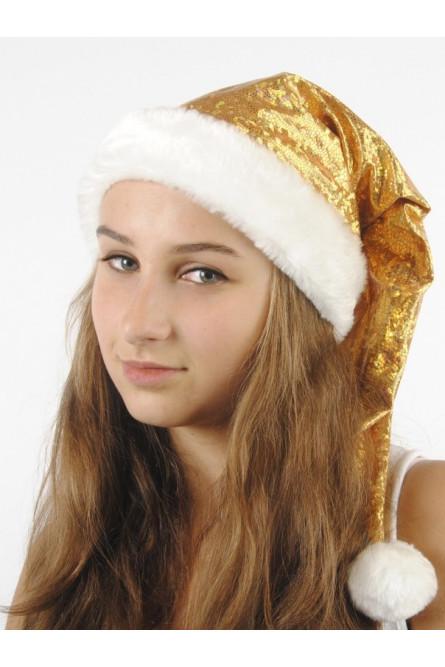 Новогодний золотистый колпак с мехом