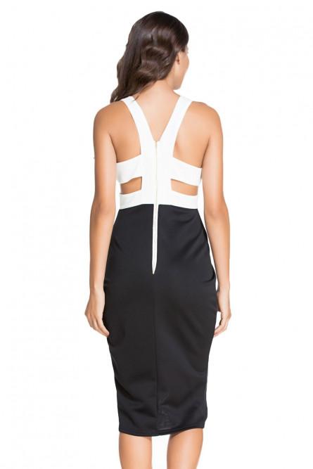 Черно-белое платье миди