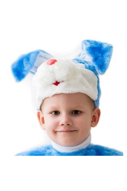 Голубая шапочка-маска кролик