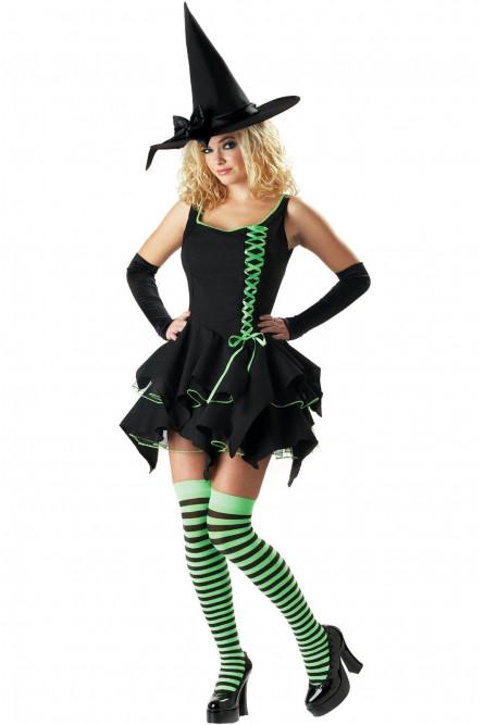 Костюм Ведьмочки с зеленой шнуровкой