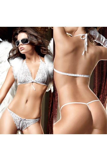 Комплект бикини белый кружевной