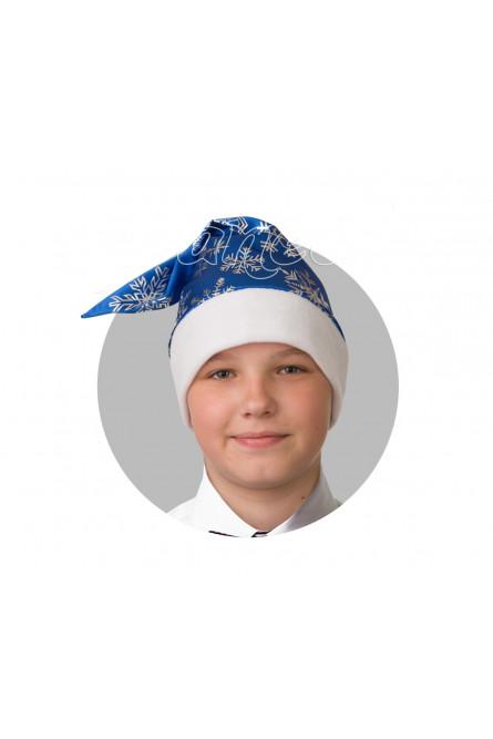 Сатиновый синий колпак со снежинками