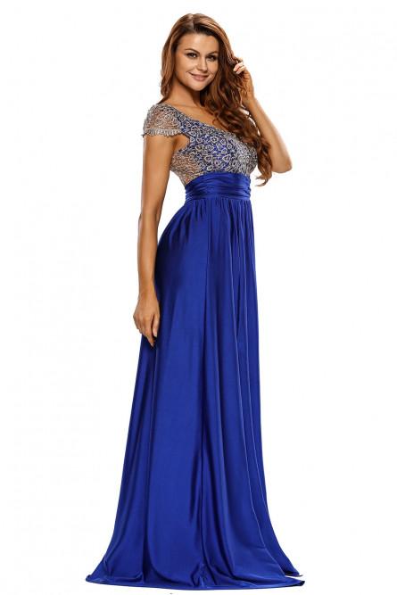 Синее длинное платье с кружевным топом