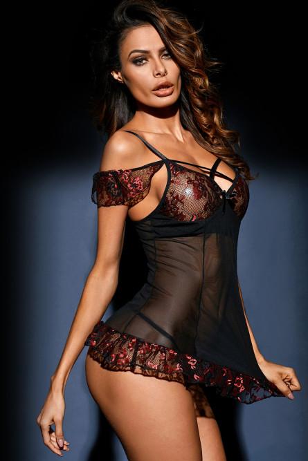 Черная прозрачная сорочка