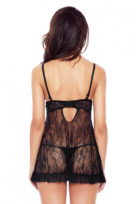 Черная сорочка с декоративной шнуровкой