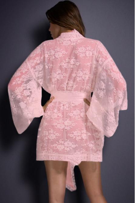 Розовый ажурный халат