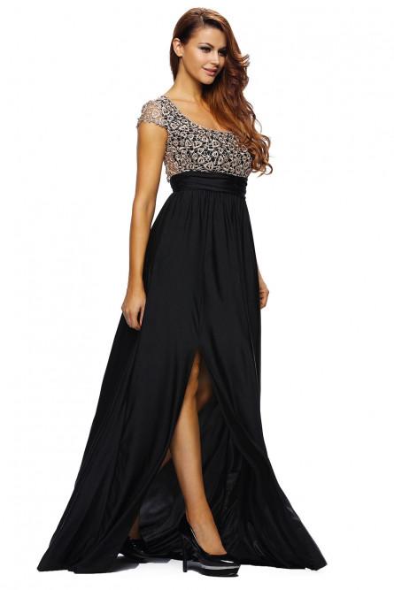 Черное вечернее платье с кружевом