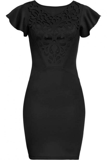Черное платье с ажурной вставкой