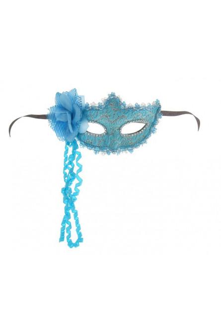 Голубая карнавальная маска с цветком
