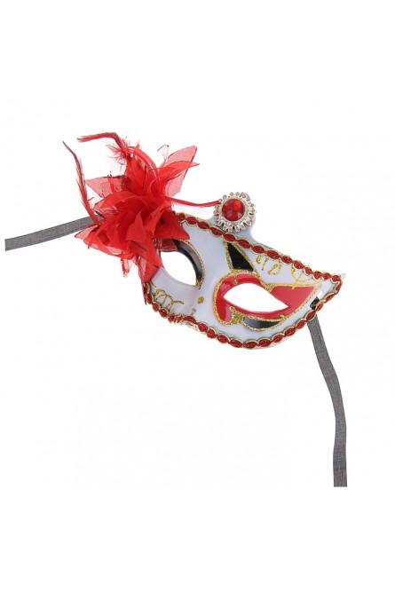 Карнавальная маска красно-белая