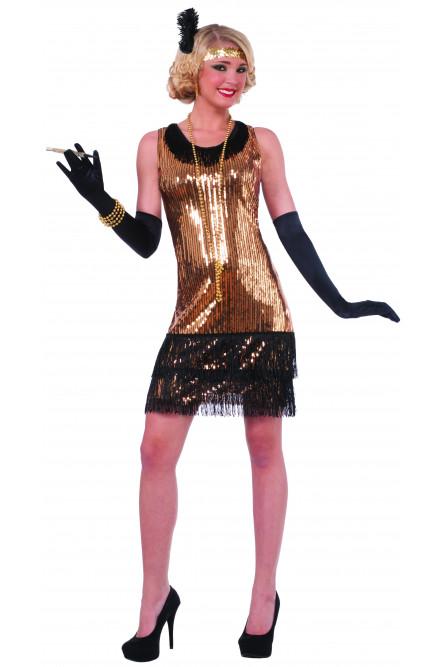 Золотое ретро платье