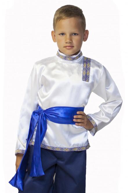 Бело-синяя детская косоворотка