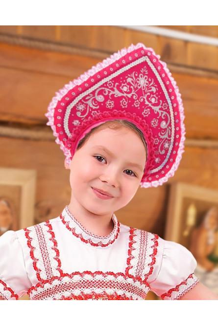 Детский розовый кокошник