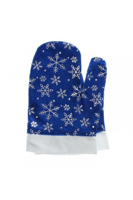 Синие варежки Деда Мороза со снежинками