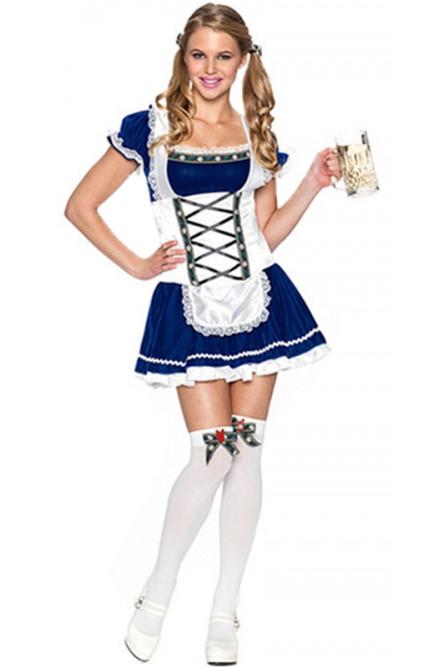 Синий костюм официантки Октоберфест