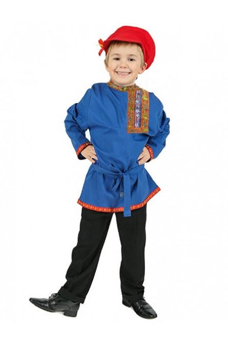 Детская льняная синяя косоворотка