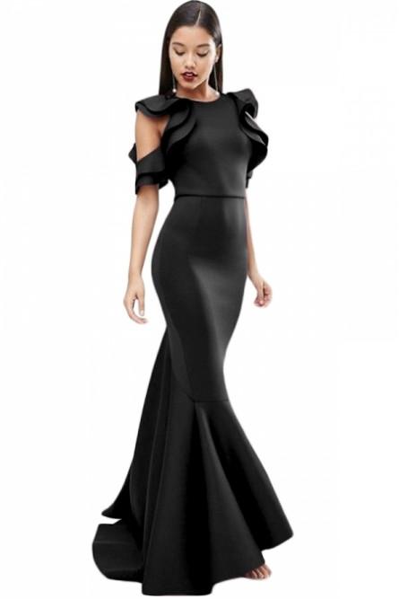 Роскошное черное платье в пол