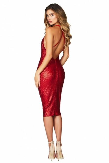 Красное блестящее платье