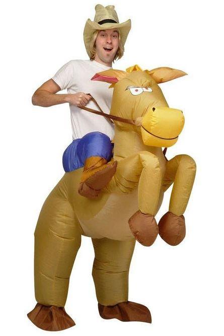 Взрослый надувной костюм Ковбой на лошади