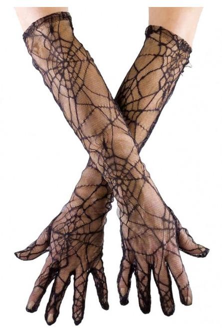 Длинные перчатки с паутиной
