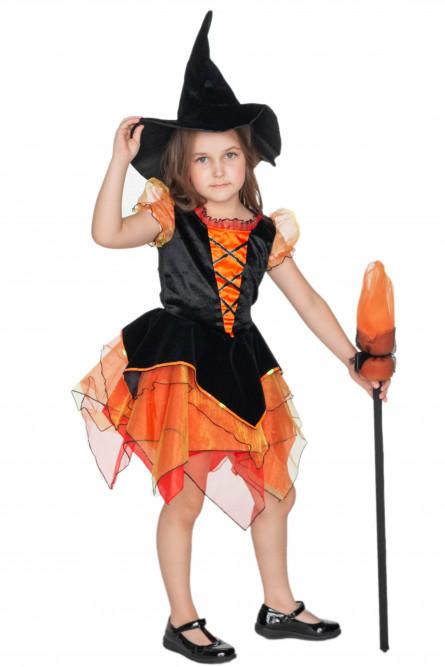Детская оранжевая метла ведьмочки