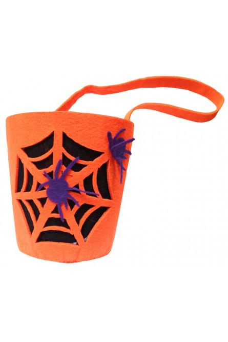 Ведерко для конфет Паутина с пауками