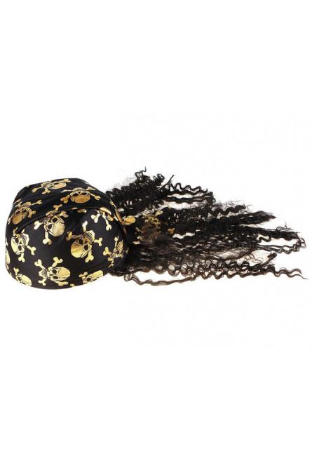 Бандана с золотистыми черепами и черными волосами