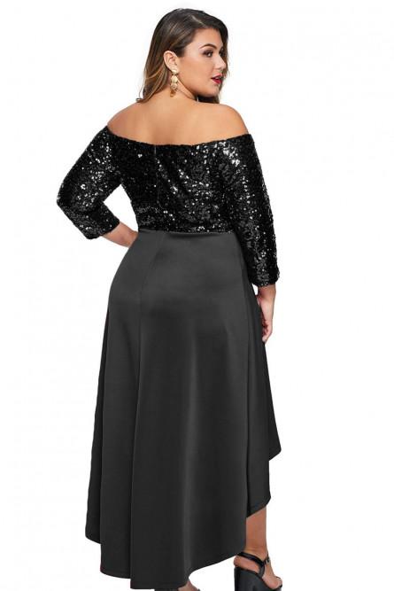 Черное платье с блестками Плюс