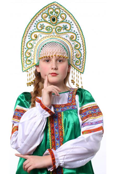 Белый кокошник Ярославна в золоте с зеленым