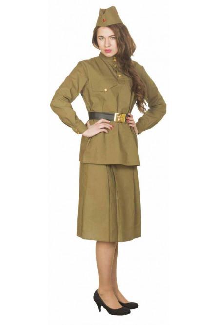 Женский военный костюм с юбкой