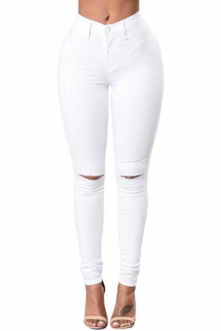 Джинсы белые с рваными коленями